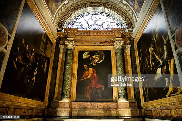 Caravaggio's cycle of Saint Matthew is on display in the Contarelli Chapel within the church of Saint Louis of the French on August 7 in Rome Italy...