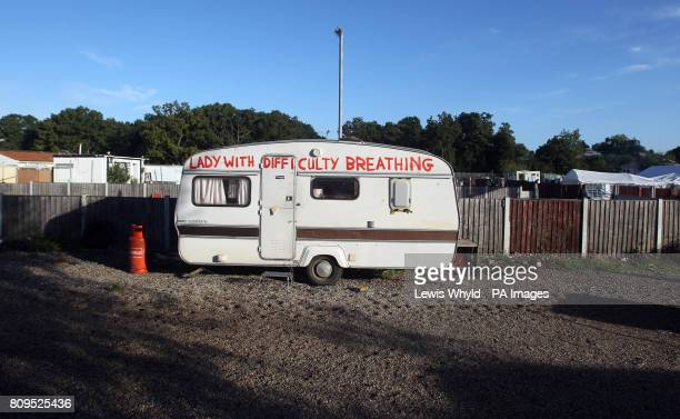 A caravan at the Dale Farm travellers site at Cray's Hill near Basildon Essex where bailiffs will later this morning begin to forcibly eject the...
