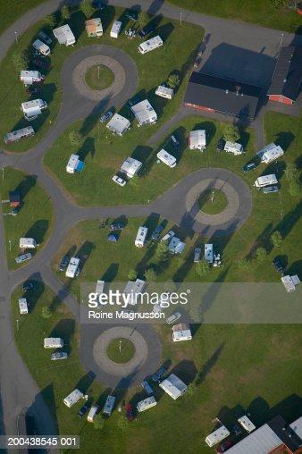 Caravan camping site, aerial view
