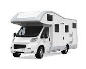 RV Caravan isolated on white background. 3D render
