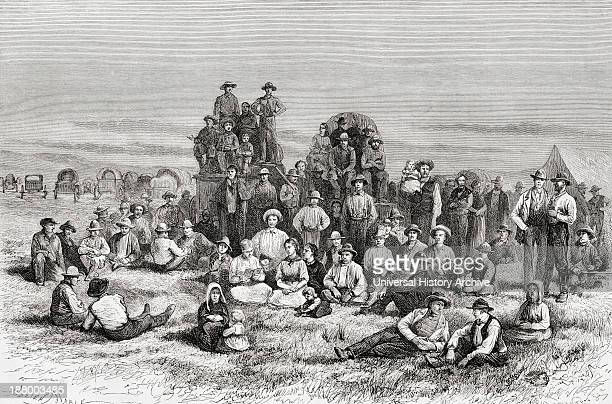 A Caravan Of Neophyte Mormons Camping In The Utah Desert America In The 19Th Nineteenth Century From El Mundo En La Mano Published 1875