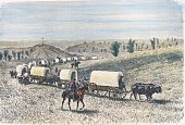 Caravan on the move illustration from Excursion to Canada and the Red River of the North by Henri De Lamothe coloured engraving from 1878 France 19th...
