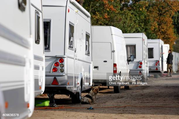 Caravans are parked up on the illegal side of the Dale Farm travellers site following the completion of clearance works by Basildon Council in Crays...