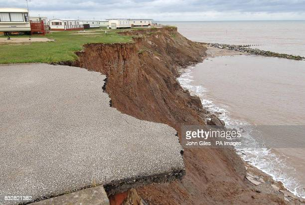 Caravans between Hornsea and Withernsea in Yorkshire which now lie on the brink of the East Coast after 15 metres of land was swept away this winter...