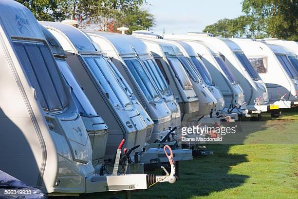 Caravans parked in storage at a campsite in Kirriemuir Angus Scotland UK