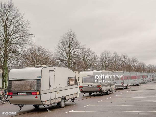 Caravans ready to host new asylum seekers are seen outside the Hotel Arena on February 9 2016 in Halmstad Sweden Swedish Migration Agency is...