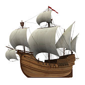 Realistic 3D Model Of Caravel With White Sails.