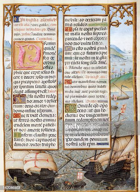 Caravels Portuguese ship miniature from The Isabella Breviary by Count Bertiandos Portugal 16th Century