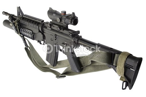m4 carbine equipped with m203 grenade launcher foto de stock