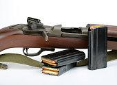 Rifle. M1 Carbine on white background. World War II vintage.