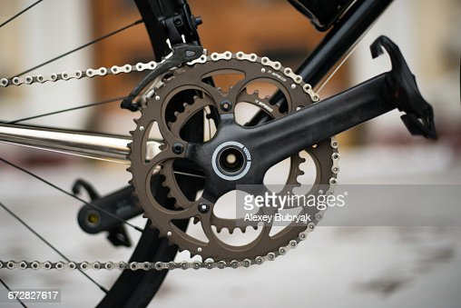 Carbon bicycle crankset : Stock Photo