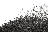 Carbon charcoal texture on white background