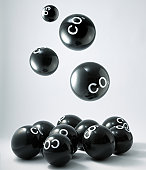 Carbon dioxide molecules falling into heap