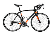 Side view of black, gray and orange carbon fiber bicycle isolated on a pure white background.