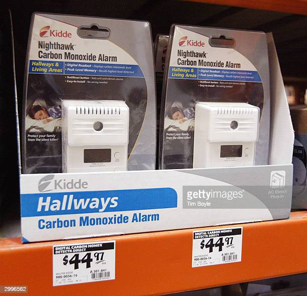 Carbon Monoxide alarms are displayed in a Home Depot store February 19 2004 in Mount Prospect Illinois United States Consumer Product Safety...
