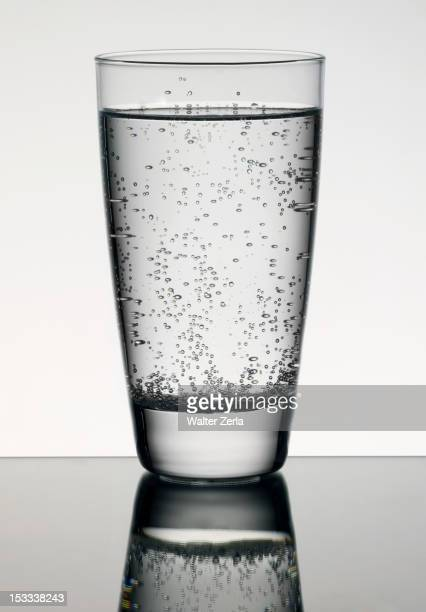 Carbonated water in glass