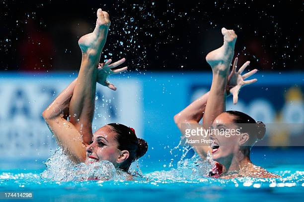 Carbonell Ballestero and Margalida Crespi Jaume of Spain compete during the Synchronized Swimming Duet Free Final on day six of the 15th FINA World...