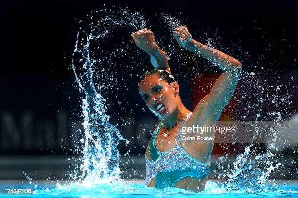 Carbonell Ballestero of Spain competes in the Synchronized Swimming Solo Free final on day five of the 15th FINA World Championships at Palau Sant...