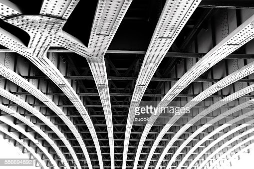 Carcass of the bridge. Technogenic abstract background : 스톡 사진