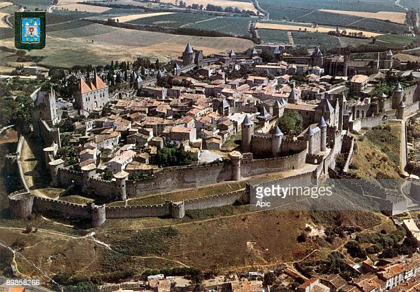 Carcassonne fortified town aerial view postcard