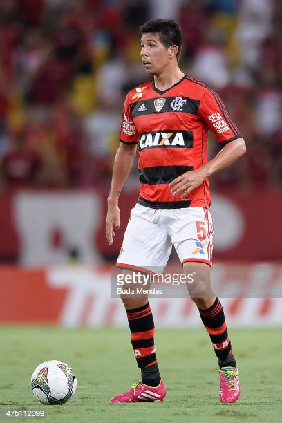 Carceres of Flamengo battles for the ball during a match between Flamengo and Emelec as part of Copa Bridgestone Libertadores 2014 at Maracana...