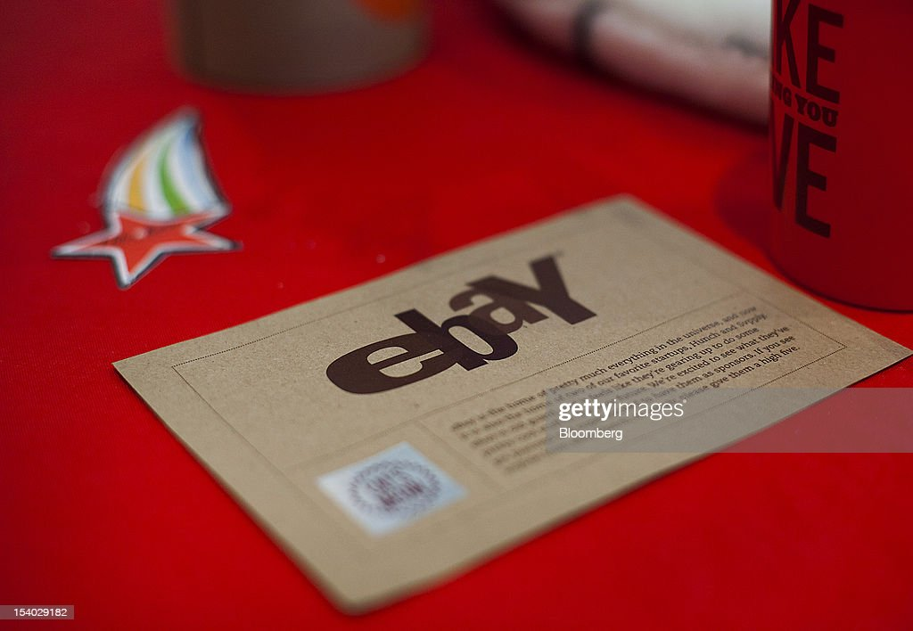 A card bearing eBay Inc. signage is displayed during the Brooklyn Beta conference in the Brooklyn borough of New York, U.S., on Friday, Oct. 12, 2012. Brooklyn Beta is a small web conference aimed at gathering web designers, developers, and entrepreneurs together to discuss meaningful problems in the industry. Photographer: Mark Ovaska/Bloomberg via Getty Images