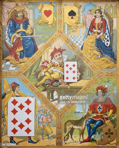 Card game plate with the King of hearts the Queen of Spades the Ten of diamonds and the Jack of clubs the dwarf Lindoro with the Seven of diamonds in...
