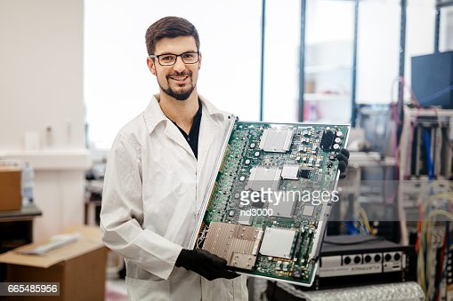 CMTS card needs to be fixed by technician : Stock Photo
