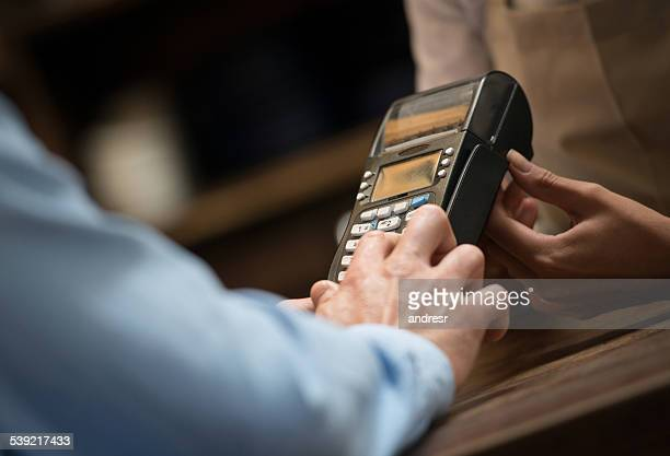 Card payment at a cafe
