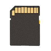 Black SD Memory Card. Isolated on white background. With clipping path