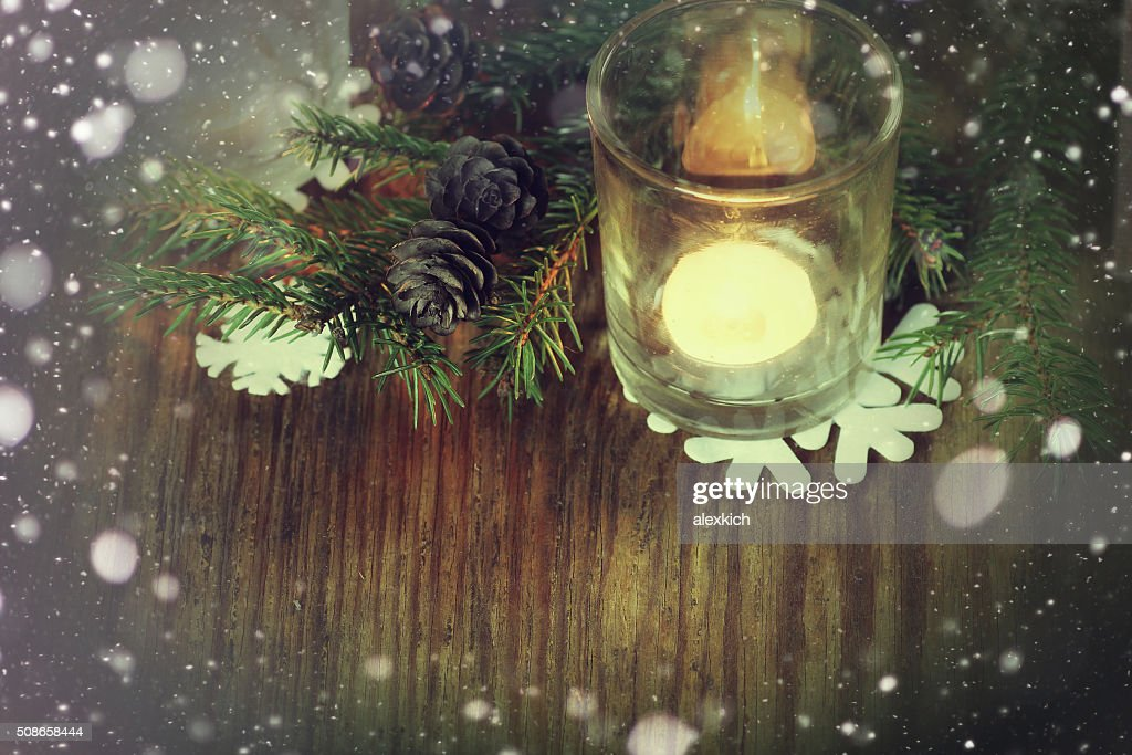 card retro branch candlestick cone snowflake : Stock Photo