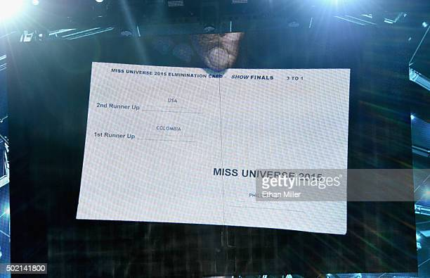 A card showing the order of the top three finalists in the 2015 Miss Universe Pageant is shown on screen after host Steve Harvey mistakenly named...