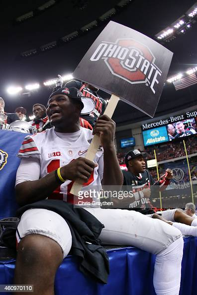 Cardale Jones and Doran Grant of the Ohio State Buckeyes celebrate after defeating the Alabama Crimson Tide 4235 during the All State Sugar Bowl at...