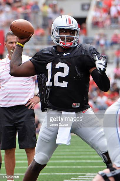 Cardale Jones of the Ohio State Buckeyes Gray team throws in the first quarter against the Scarlet team at Ohio Stadium on April 18 2015 in Columbus...