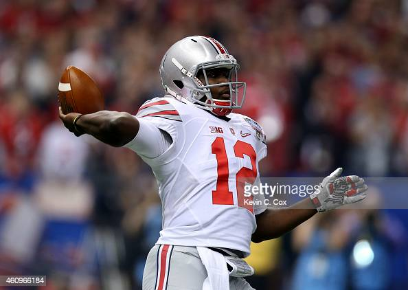 Cardale Jones of the Ohio State Buckeyes throws the ball in the first quarter against the Alabama Crimson Tide during the All State Sugar Bowl at the...