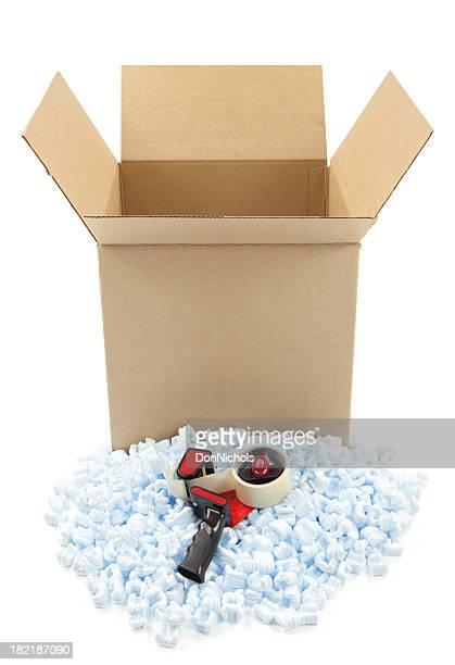 Cardboard Box and Shipping Peanuts