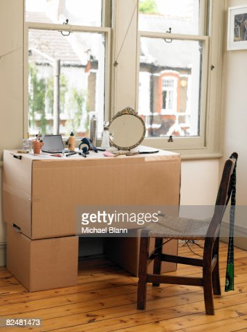 Cardboard box dresser : Stock Photo