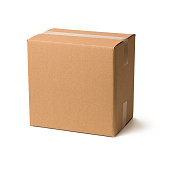 A closed cardboard box with visible shadow isolated on white background.
