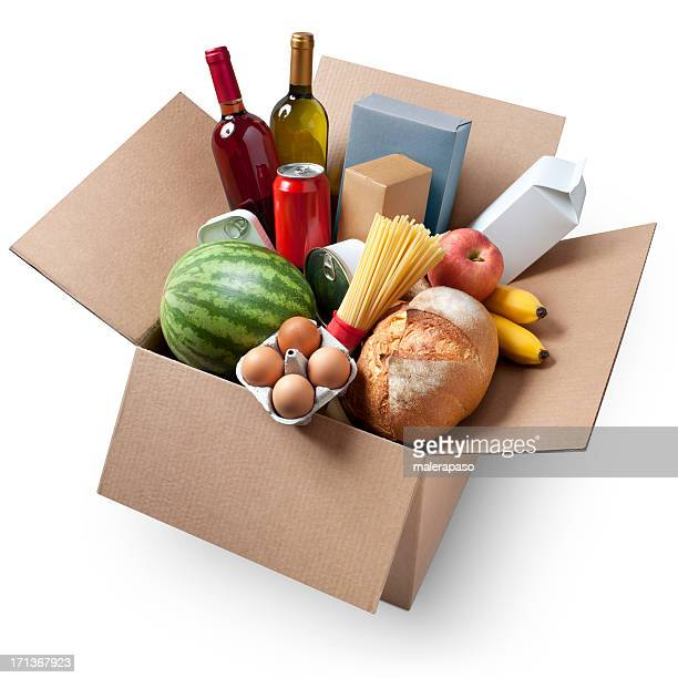 Cardboard box with groceries