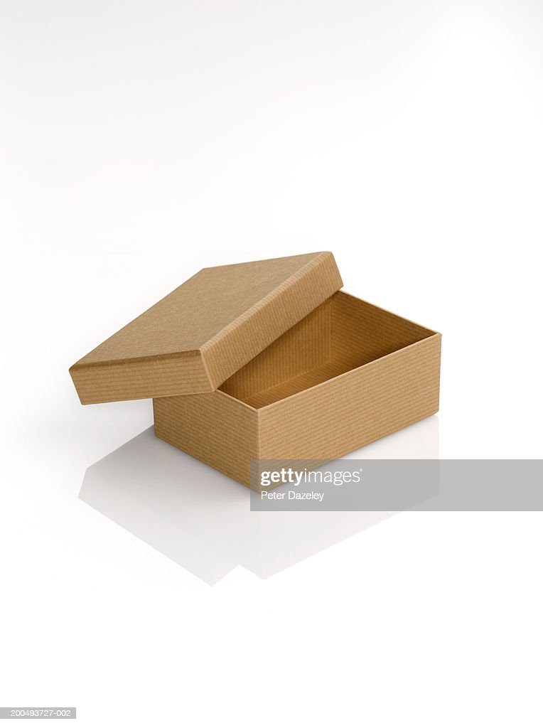 cardboard box with lid open against white background
