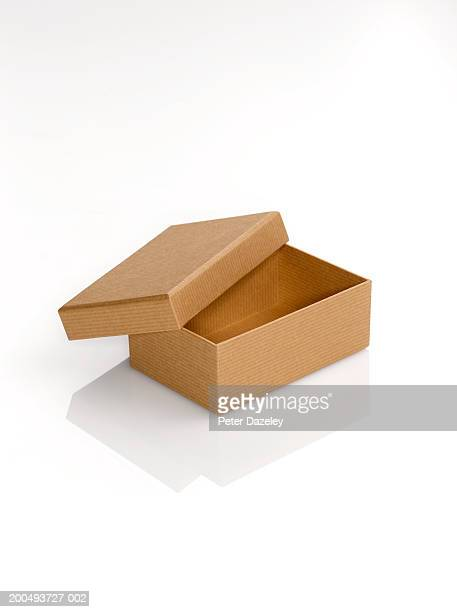 Cardboard box with lid open, against white background, close-up