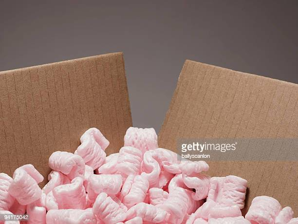 Cardboard Box With Packaging Peanuts.