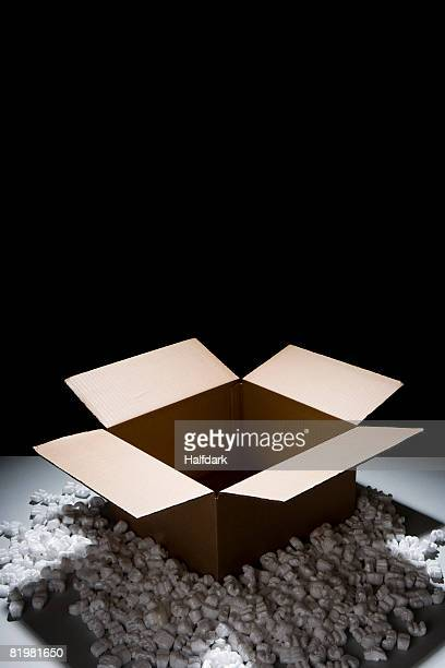 A cardboard box with packing peanuts