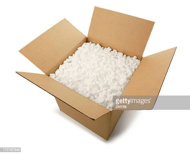 Cardboard Box with Peanuts