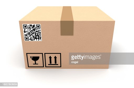 cardboard box with qr code stock photo getty images. Black Bedroom Furniture Sets. Home Design Ideas
