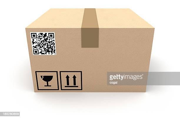 Cardboard box with QR code
