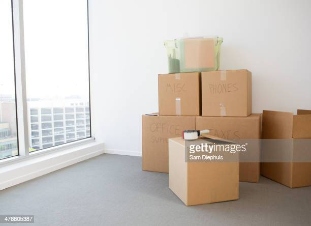 Cardboard boxes in new home