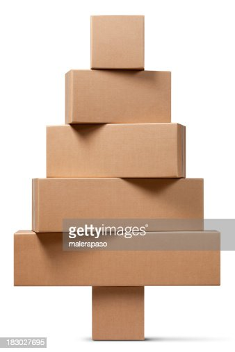 Cardboard boxes in the shape of a Christmas tree