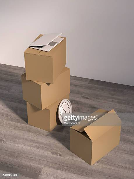 Cardboard boxes, laptop and a wall clock on wooden floor in an empty office, 3D Rendering