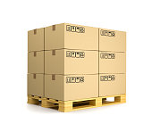 Stack of Cardboard Boxes on Wooden Pallet Isolated on White Background 3D Illustration